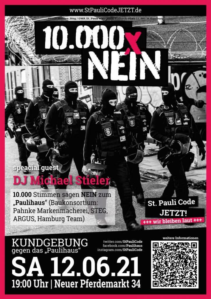 """Wir bleiben laut: 12.06.2021 10.000 Stimmen sagen NEIN zum """"Paulihaus"""" (Baukonsortium: Pahnke Markenmacherei, STEG, ARGUS, Hamburg Team)"""