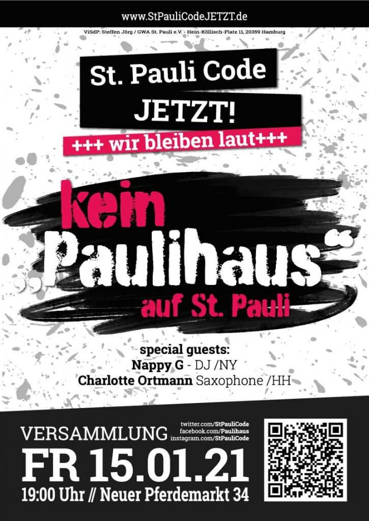 """15.1.21 Versammlung: kein """"Paulihaus"""" auf St. Pauli  Wir bleiben laut!"""