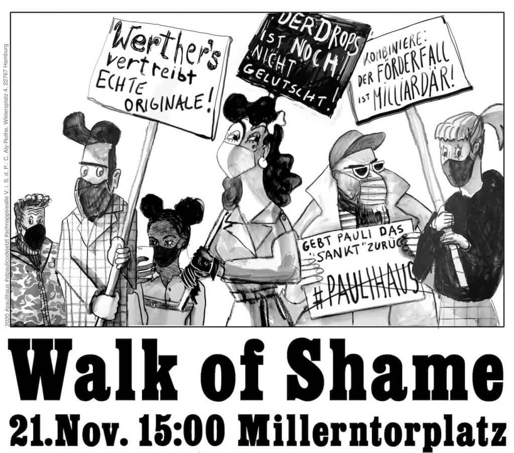 Walk of Shame Demo am 21.11.2020 von St. Pauli Code JETZT!